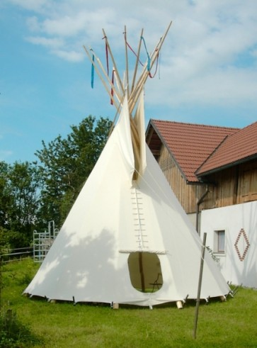 PAKET: 8m-Tipi, mit F-Lining, Ozan deLuxe, Holzpaket, Ankerseil (ohne Stangen)