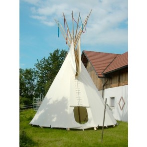 PAKET: 4,5m-Tipi, EXTRASCHWER mit F-Lining, Ozan deLuxe, Holzpaket, Ankerseil (ohne Stangen)